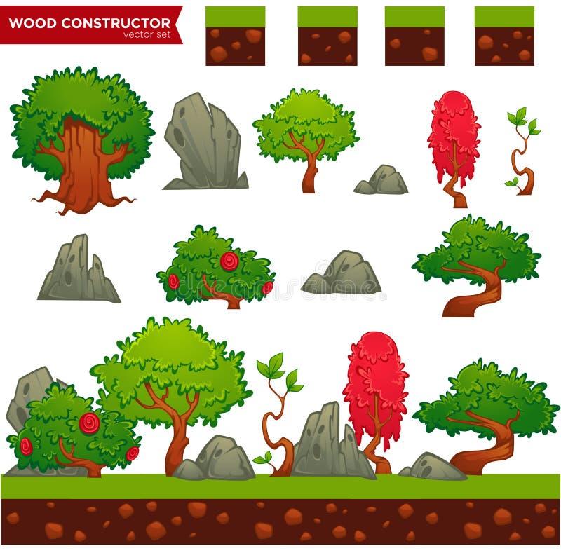 Constructeur en bois d'imagination pour votre jeu de mobile ou d'ordinateur illustration de vecteur