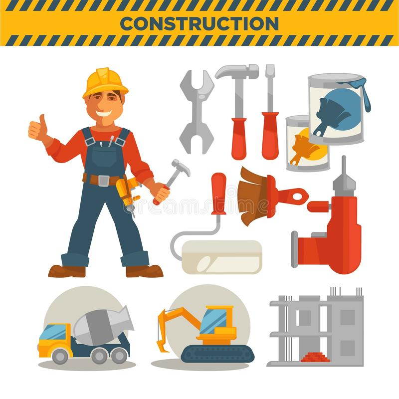 Constructeur et ensemble masculins d'outils spéciaux sur le blanc illustration de vecteur