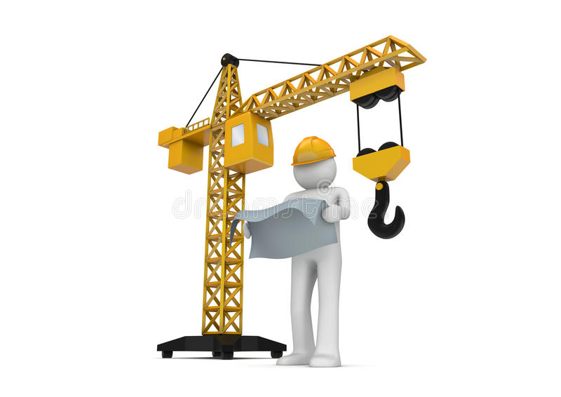 Constructeur et grue illustration stock