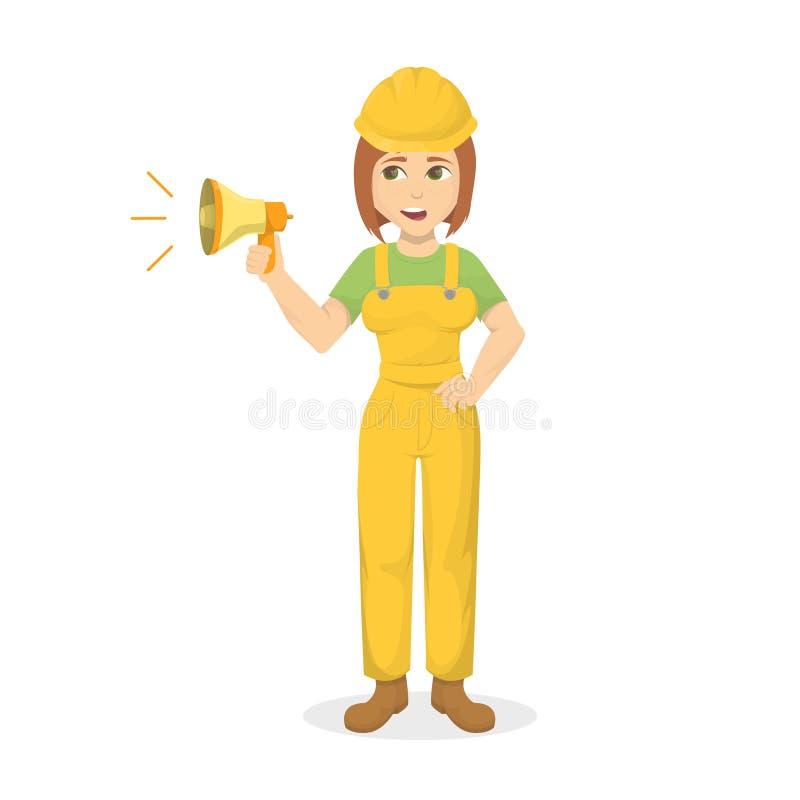 Constructeur femelle avec le mégaphone illustration libre de droits