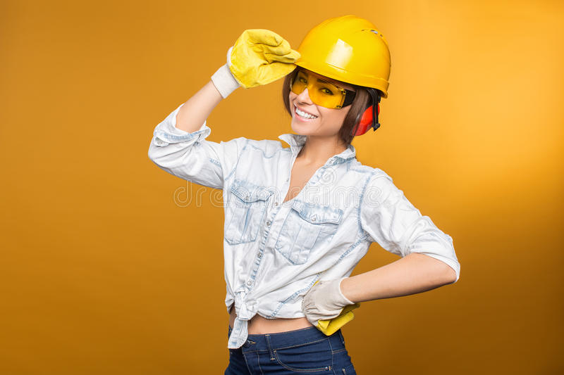 Constructeur Girl photo stock