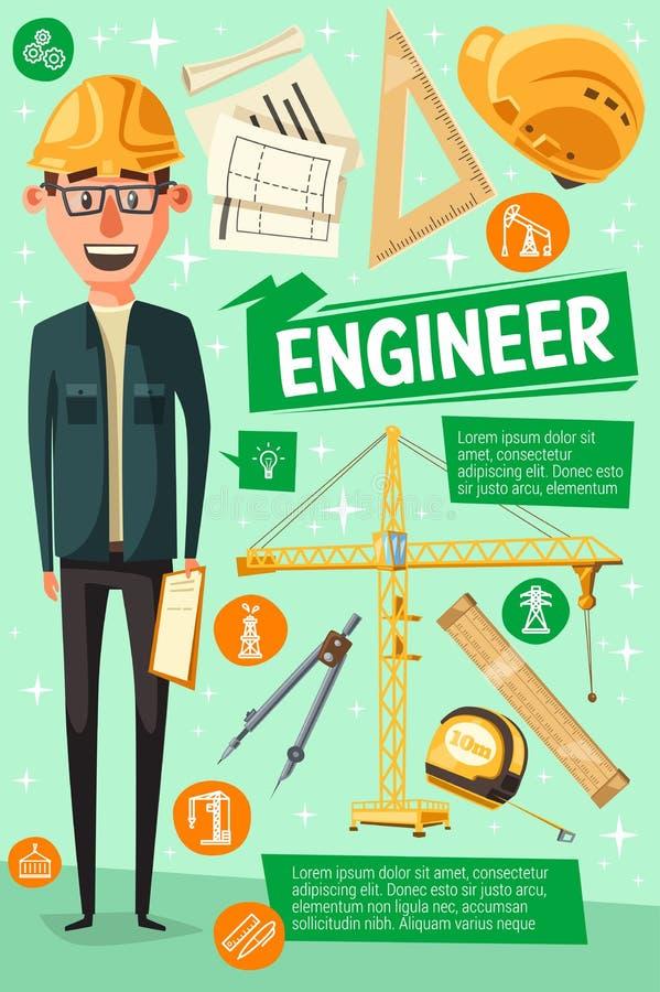 Constructeur, ingénieur ou travailleur, homme de bande dessinée illustration stock