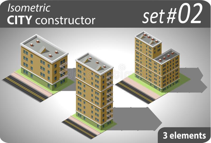 Constructeur isométrique de ville Ensemble - 01 illustration libre de droits