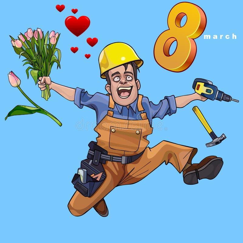 Constructeur masculin de bande dessinée sautant heureusement avec un groupe de fleurs illustration stock