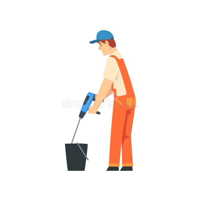 Constructeur Mixing Cement avec le mélangeur de construction, caractère masculin de travailleur de la construction dans des de fa illustration libre de droits