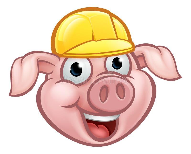 Constructeur Pig Cartoon Character illustration de vecteur