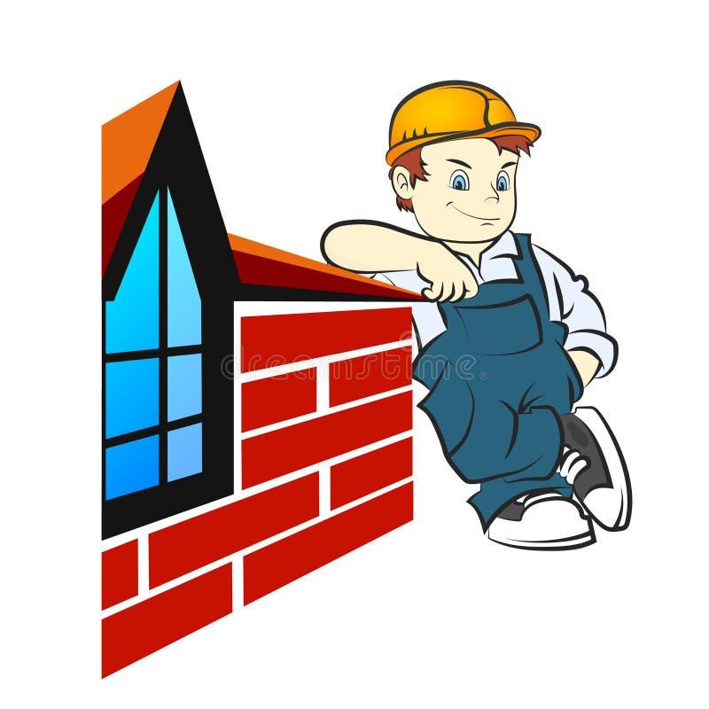 Constructeur se tenant au mur de briques de la maison illustration stock