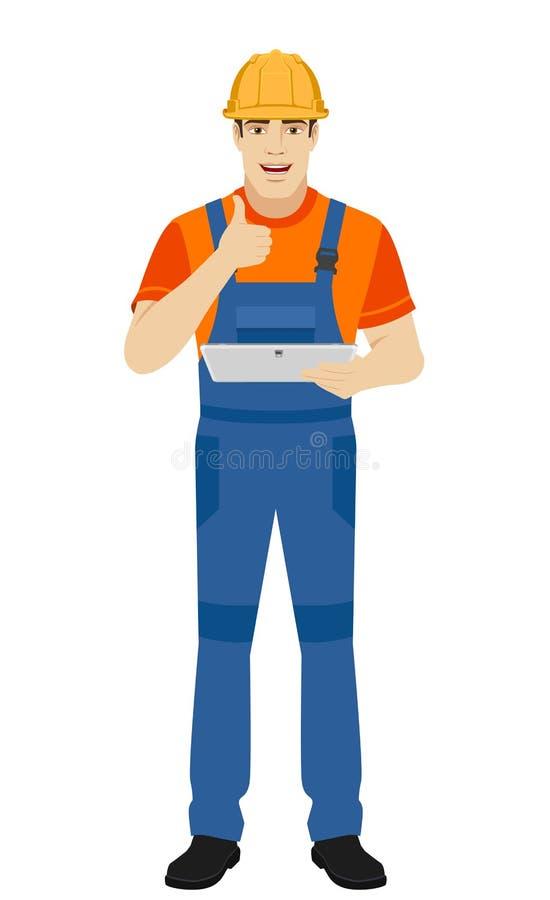 Constructeur tenant le comprimé numérique et montrant le pouce  illustration libre de droits