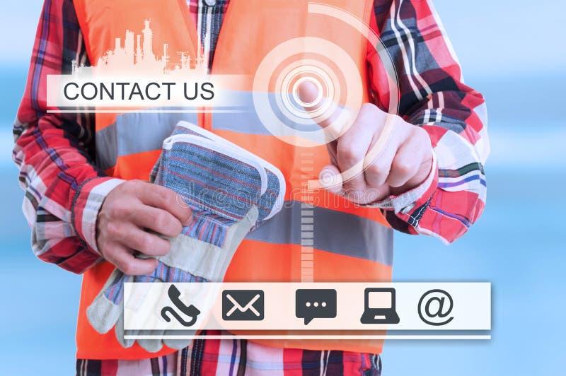 Constructeur touchant l'interface futuriste photos libres de droits