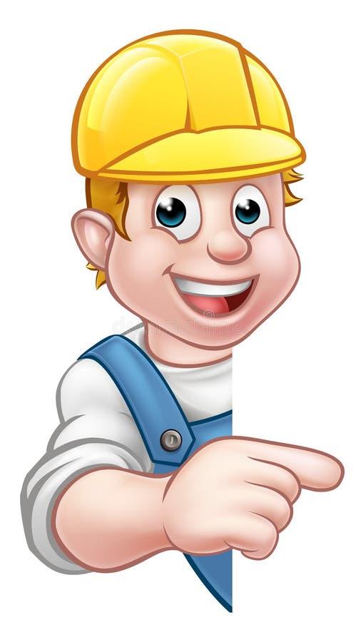 Constructeur Worker de bricoleur dans le casque antichoc illustration stock