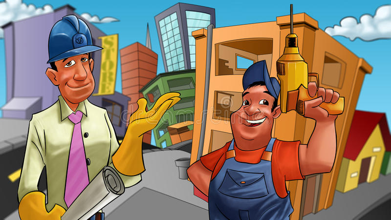Constructeurs illustration stock