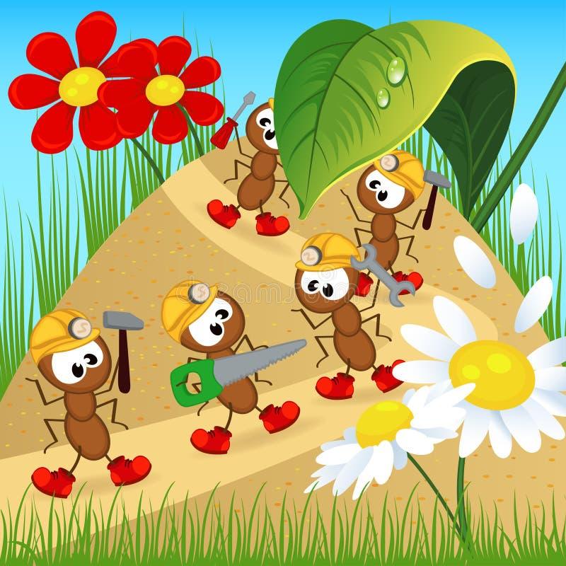 Constructeurs de fourmis avec des outils illustration de vecteur