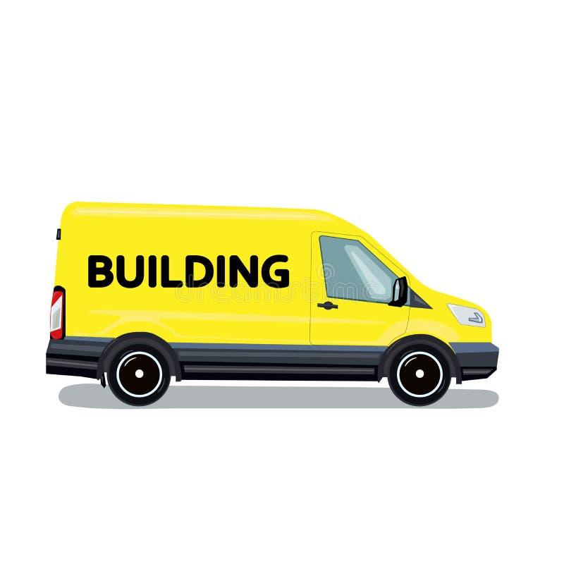 Constructeurs de voiture Monospace pour des travaux de construction Illustration de vecteur dans le style plat image stock
