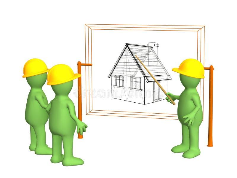 Constructeurs - marionnette, discutant le projet illustration stock