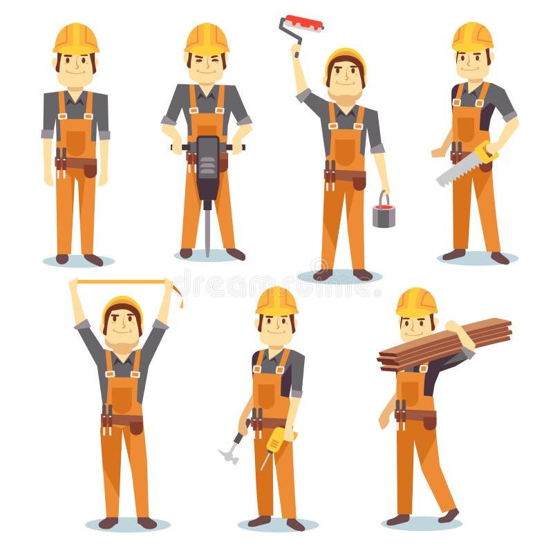 Constructiewerkzaamhedenfabrieksarbeiders die met de bouw van hulpmiddelen en van materiaal vectormensen karakter werken - reeks stock illustratie