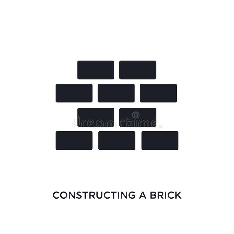 Constructing a brick wall isolated icon. simple element illustration from construction concept icons. constructing a brick wall. Editable logo sign symbol royalty free illustration