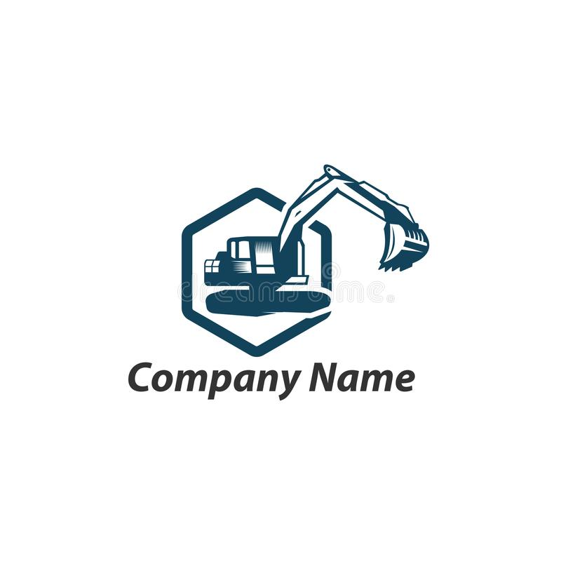 Excavation work logo design, emblem of excavator or building machine. Constructing equipment, Heavy excavator machine with shovel typographyv emblem, Vector.EPS stock illustration