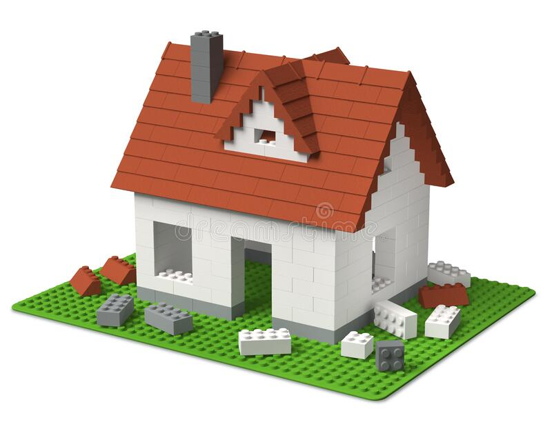 Constructing a house of toy building block tiles 3D royalty free stock image