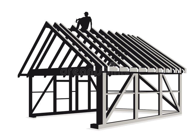 Constructing wood framed house vector illustration