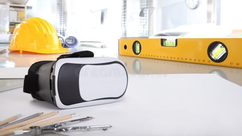 Constructio arquitetónico do fundo da mesa de escritório virtual da realidade fotos de stock royalty free