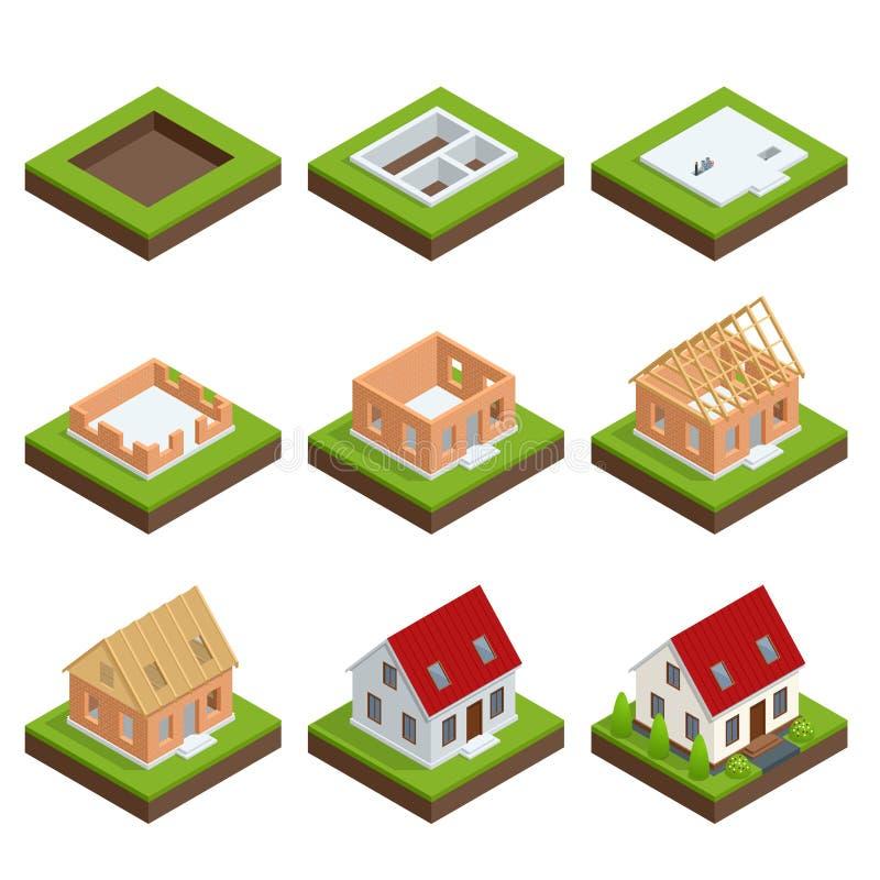 Construction étape par étape d'ensemble isométrique d'une maison de brique Processus de construction de logements illustration libre de droits