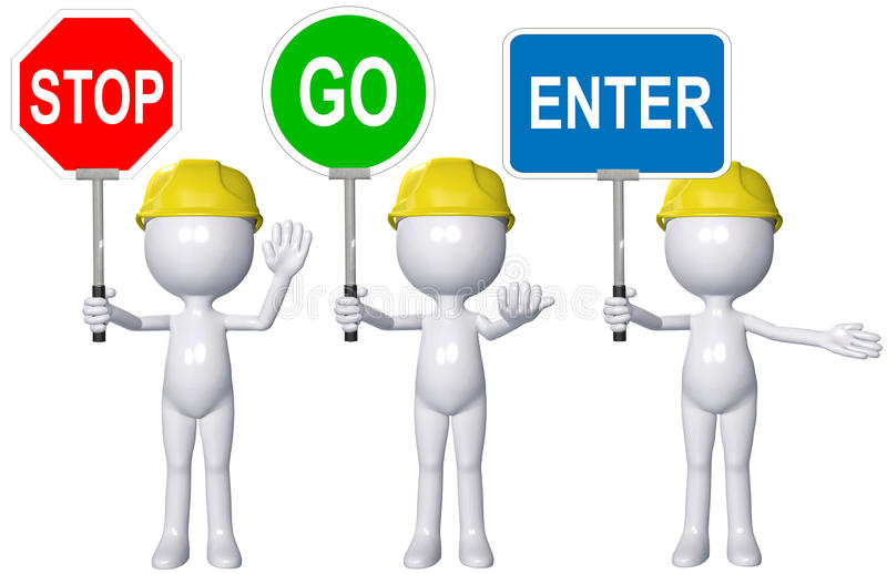Construction 3D person STOP GO ENTER signs. A cartoon 3D construction person directs traffic with STOP GO ENTER signs vector illustration