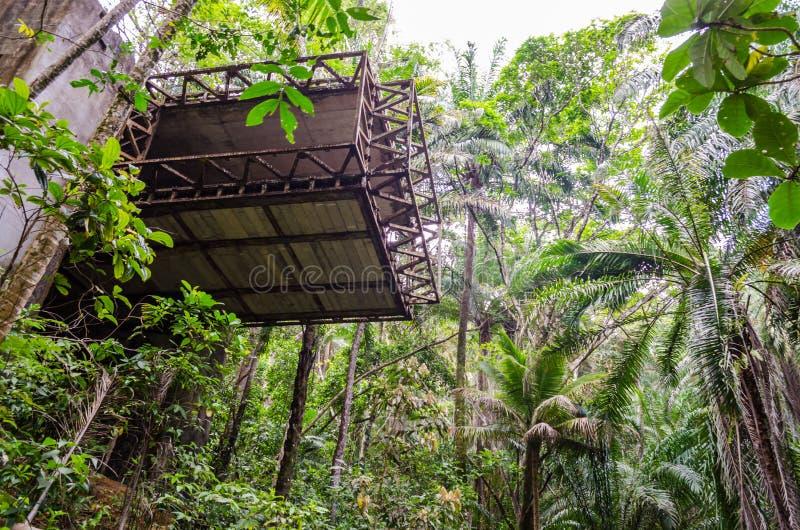 Construction abandonnée avec le matériel exposé parmi la végétation intense d'une forêt tropicale image stock