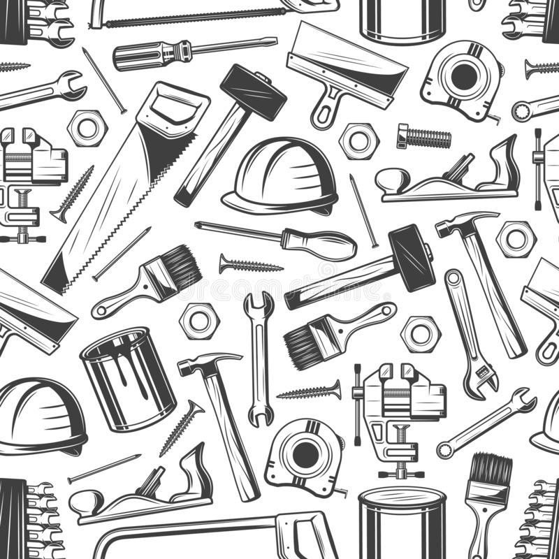 Free Construction And Building Pattern, Carpentry Tools Stock Image - 142311981