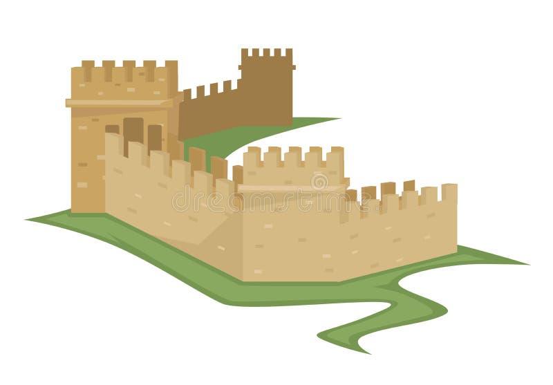 Construction antique de brique d'isolement par Grande Muraille chinoise illustration de vecteur