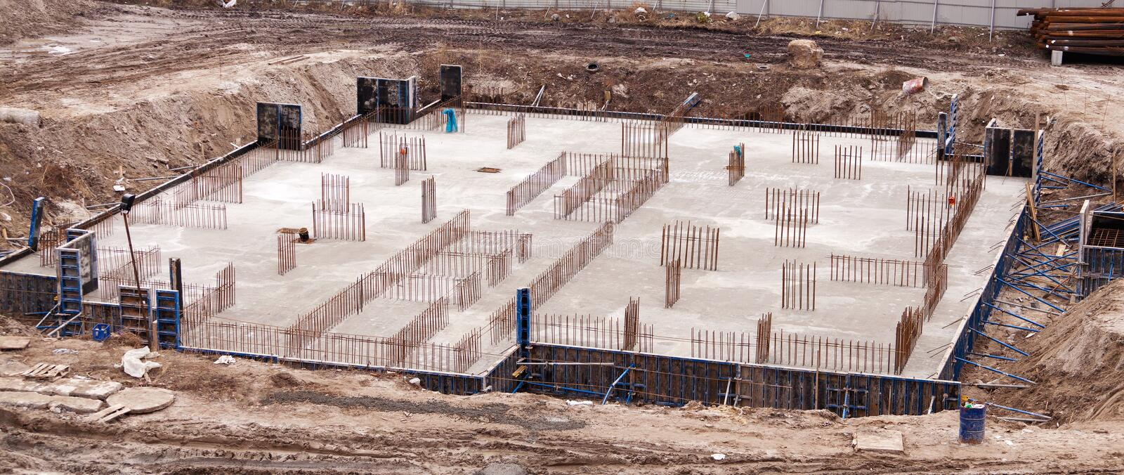 Construction of an apartment house stock photo image for Building a house on a slab