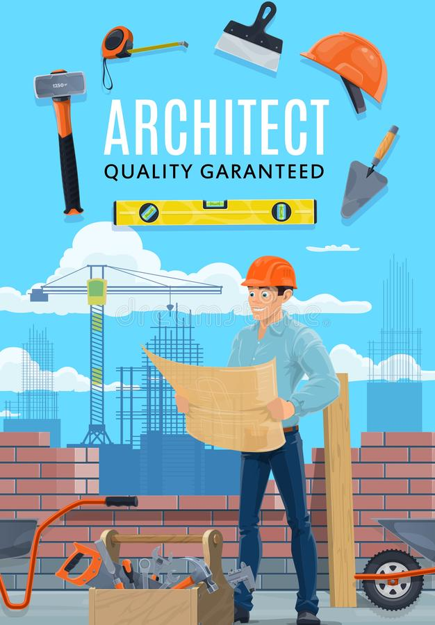 Construction architect, house builder man royalty free illustration