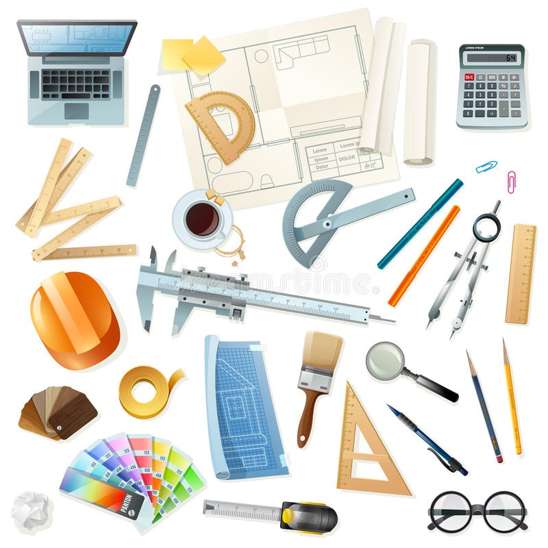 tools architect construction vector drawing illustration various flat isolated projects background preview