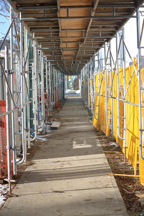 Covered Walkway Construction : Construction area and covered walkway stock image