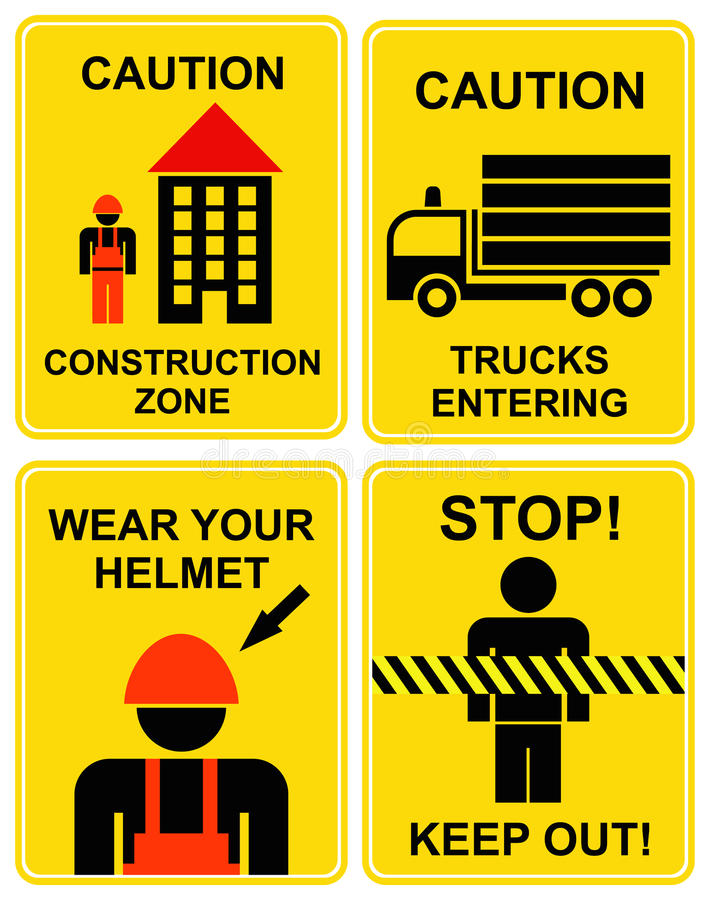 Construction area signs royalty free illustration