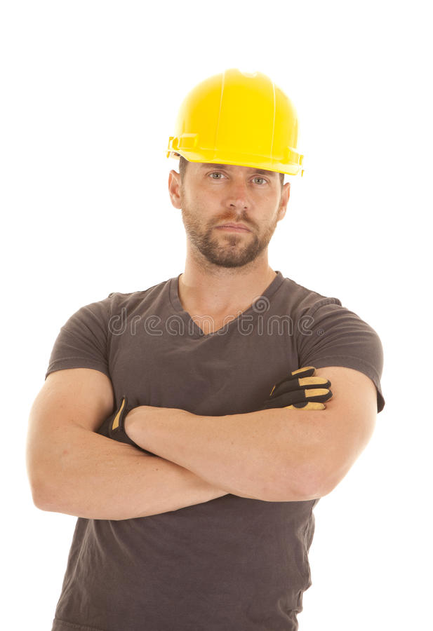 Construction arms crossed stock image