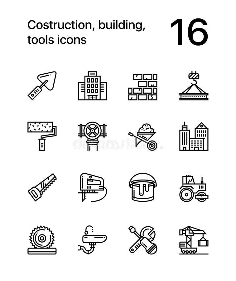 Construction, bâtiment, icônes sans couture d'ensemble de vecteur d'outils pour le Web et paquet mobile 1 de conception illustration stock