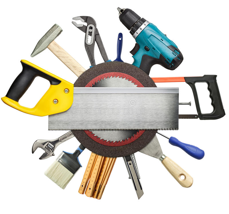 Construction background. Carpentry, construction tools collage background royalty free stock images