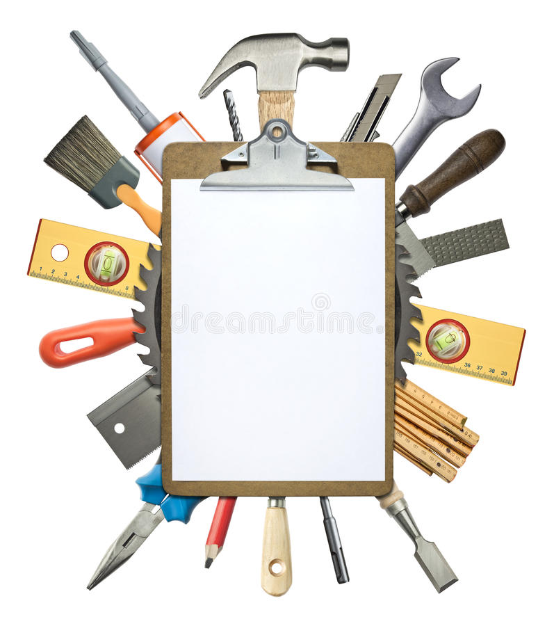 Construction background. Carpentry, construction collage. Tools underneath clipboard stock photo