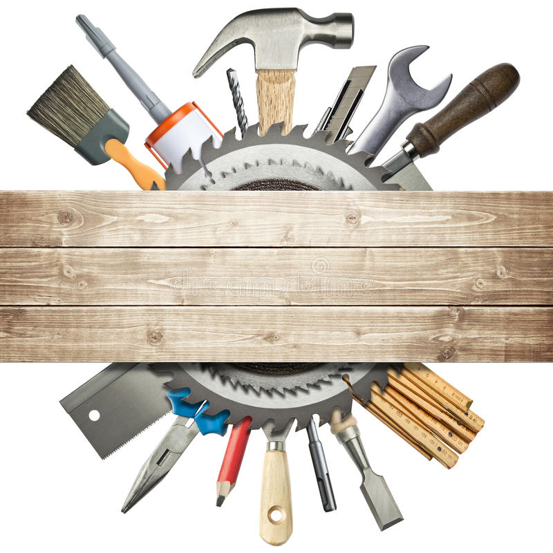 Construction background. Carpentry, construction collage. Tools underneath wooden planks royalty free stock photo