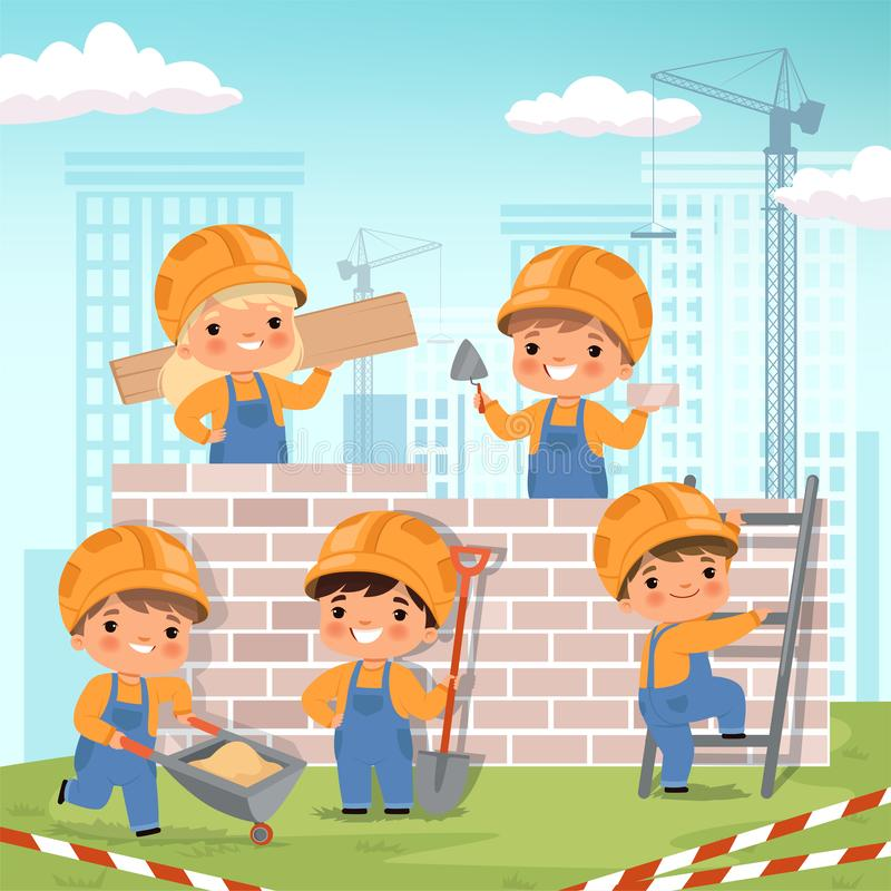 Construction background. Little kids making some work at construction build house vector cartoon background stock illustration