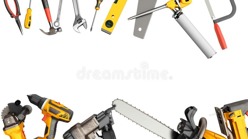 Construction background with tools 3d render on white no shadow. Construction background with tools 3d render on white royalty free illustration