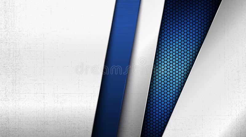 Stainless steel metal panel and hexagonal grid pattern over blue light background vector illustration