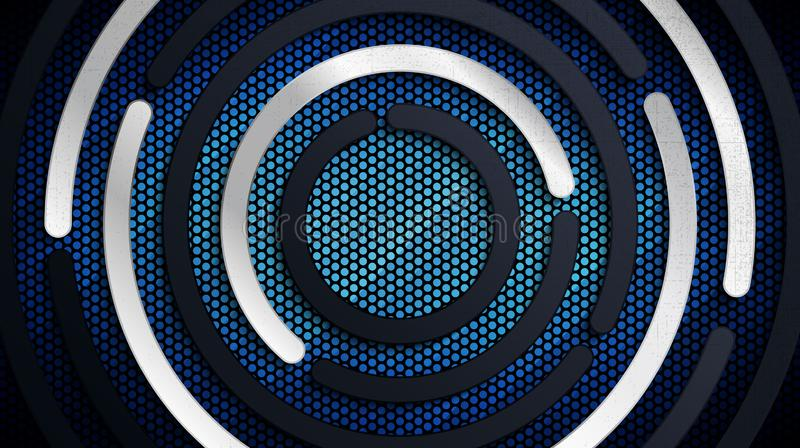 Stainless steel metal panel and perforated sheet pattern over blue light background royalty free illustration