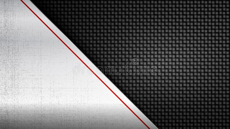 Stainless steel metal panel over carbon fiber background stock illustration