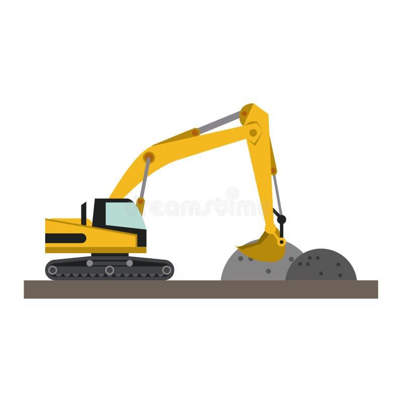 Construction backhoe loading gravel. Vector illustration graphic design vector illustration