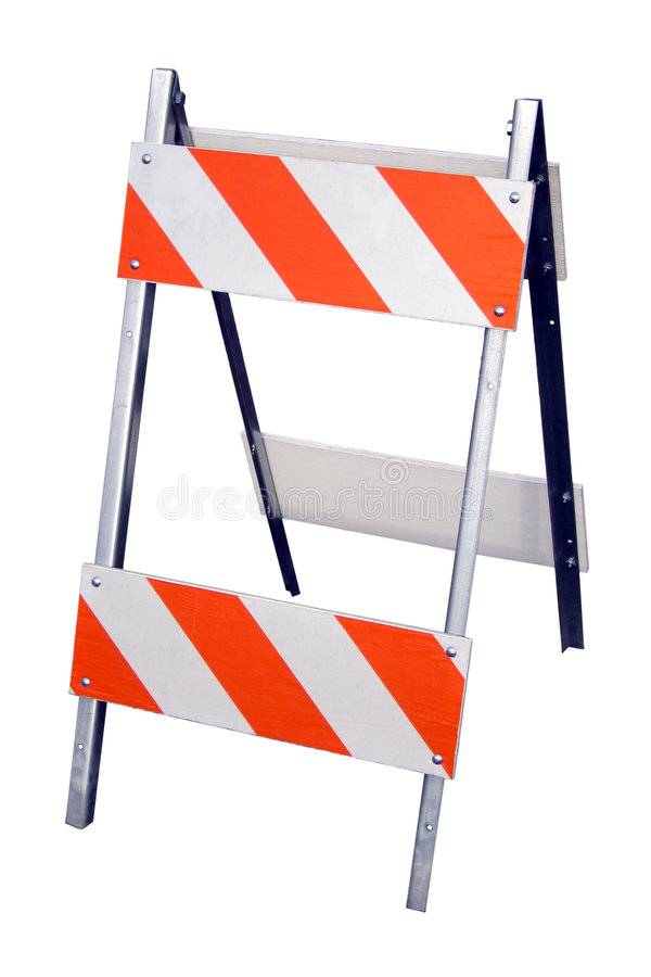 Construction Barricade. Isolated photo of a construction barricade on white background stock photos