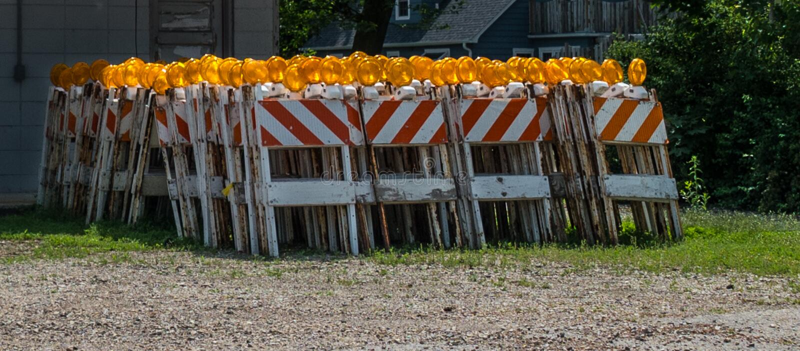 Construction barricades old and obsolete stock image