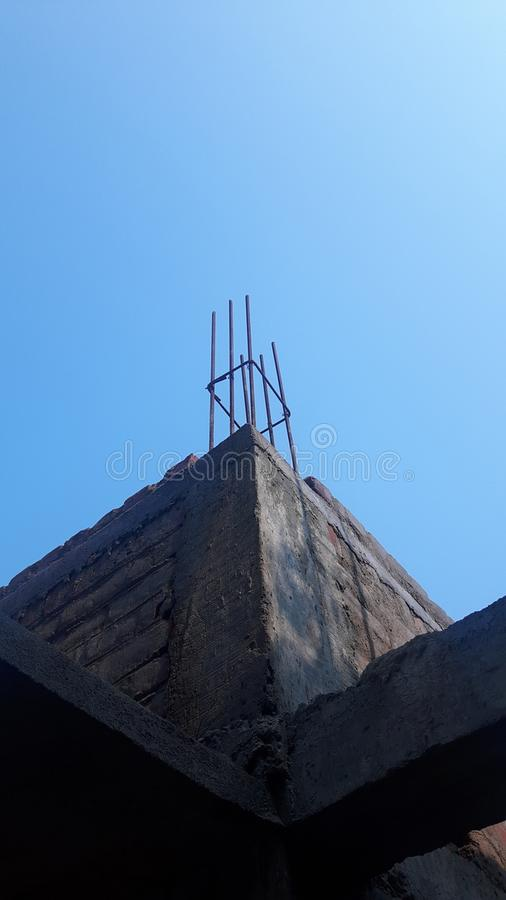 Architecture. The construction begins under blue sky royalty free stock images