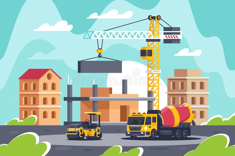 Construction of big building with heavy machinery, concrete mixer, road roller, crane. Concept construction equipment, architecture, manufacturing process royalty free illustration