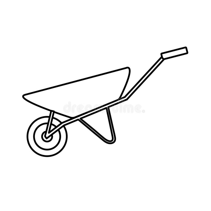 Construction black-and-white icon of a manual one-wheeled trolley with one wheel designed for carrying heavy loads, building royalty free illustration